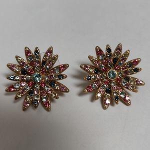 J. Crew Pavé Daisy Stud Earrings Multi Color Jewel